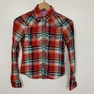 Holister Shirt Plaid Long Sleeve Multicolor Sz: XS